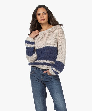 by-bar Evi Astro Intarsia Mohair Blend Pullover - Blue/Sand