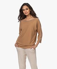 no man's land Cotton Sweater with Lurex - Toffee
