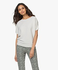 no man's land Cotton Short Sleeve Sweater - Shell