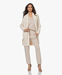 Repeat Open Knee-length Cotton Cardigan - Ivory