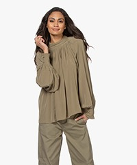 Closed Braelyn Geplooide Blouse - Green Umber