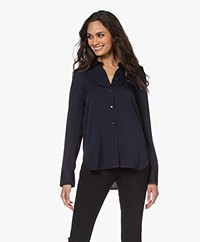 Vince Slim-fit Stretch Zijden Blouse - Coast Blue