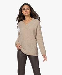 no man's land Mohair and Wool Blend  V-neck Sweater - Oak