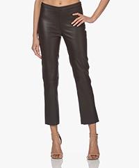 LaSalle Lamb Leather Straight Leg Pants - Choco