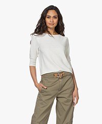 no man's land Cotton Sweater with Short Puff Sleeves - Ivory