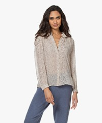 ba&sh Anita Printed Silk Blend Seersucker Blouse - Ecru