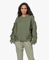 By Malene Birger Tuya Sweatshirt met Kwastjes - Clover Green