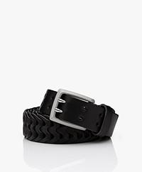 Rag & Bone Woven South Dress Leather Belt - Black