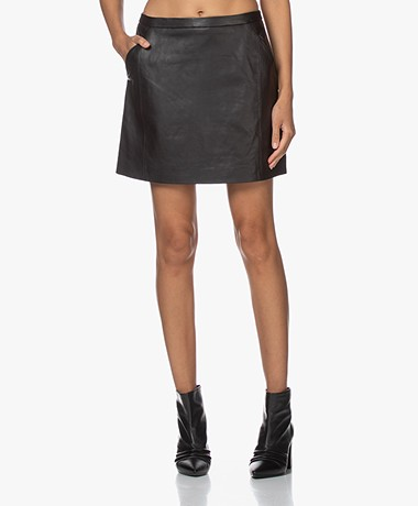 by-bar Lot Leather Mini Skirt - Black