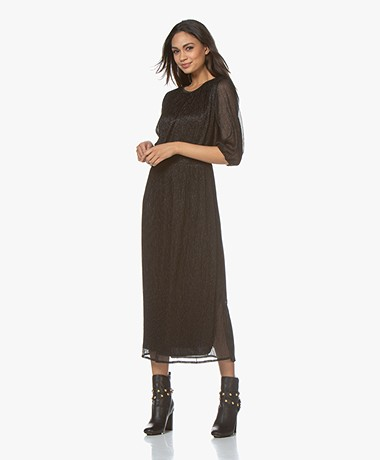 by-bar Marte Pleated Lurex Midi Dress - Black
