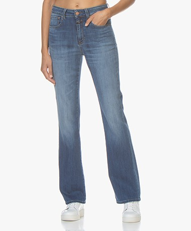 Closed Leaf Flared Stretch Jeans - Mid Blue