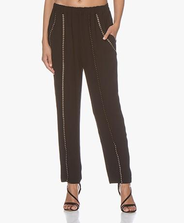 IRO Egini Loose-fit Pants with Eyelets - Black