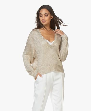 IRO Nanga Knitted Lurex V-neck Sweater - Light Gold/Silver
