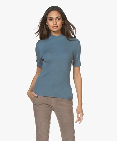 Drykorn Jary Silk Blend Ribbed Turtleneck Sweater - Blue