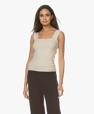 extreme cashmere N°127 Cara Knitted Tank Cashmere Top- Latte