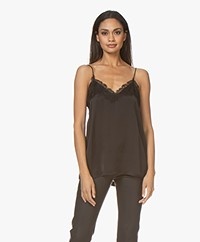 ANINE BING Belle Silk Camisole with Lace - Black