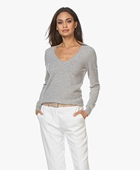 Repeat Cashmere V-neck Pullover - Silver Grey