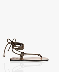 ATP Atelier Alezio Nappa Leather Strappy Sandals - Khaki Brown
