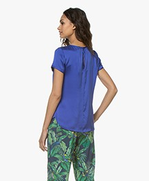 no man's land Stretch Silk Blouse Top - Royal Blue