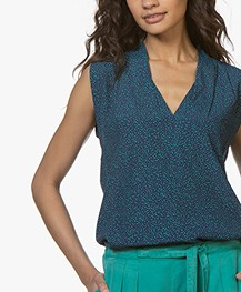 Repeat Sleeveless Crepe Print Blouse - Micro Dots Blue