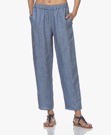 Majestic Filatures Loose-fit Gestreepte Linnen Broek - Positano Blue