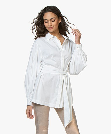 Repeat Puffed Sleeve Blouse with Tie Belt - White