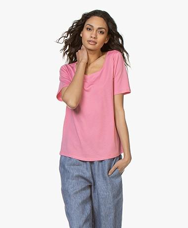 Repeat Jersey Lyocell Mix T-shirt - Roze