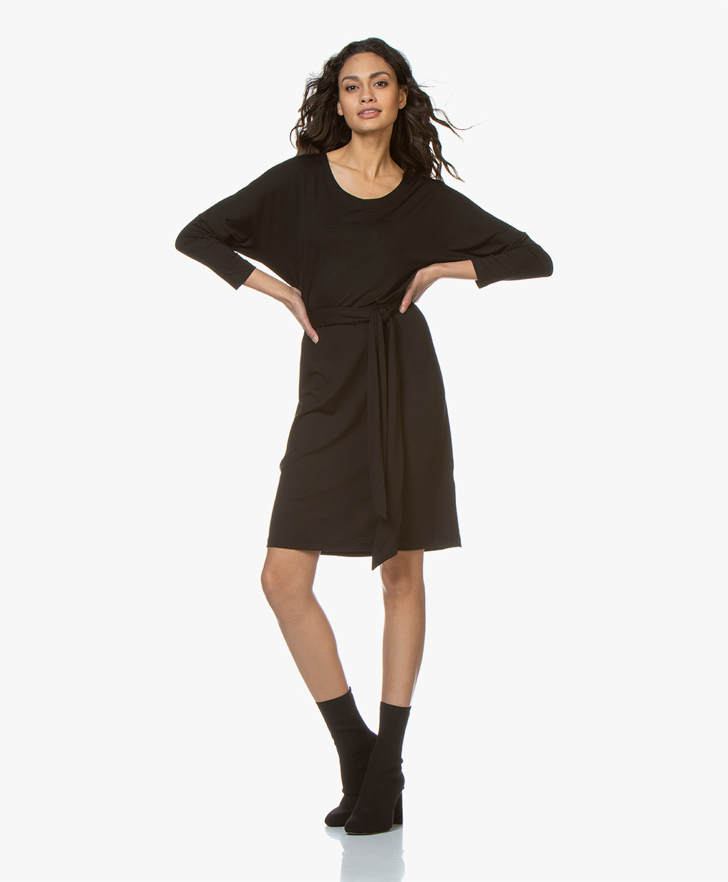 b488b28f1c6d33 LaSalle Lyocell Jersey Dress - Black - vi.02