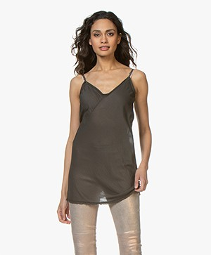 BRAEZ Long Voile Spaghetti Strap Top - Army
