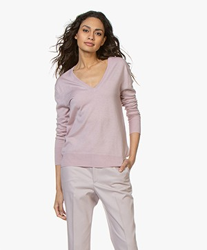 Filippa K Silk Mix V-Neck Trui - Frosty Pink