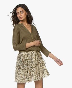 ba&sh Lexy Linen Cropped Sleeve T-shirt - Khaki