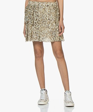 IRO Moody Silk Printed Mini Skirt - Ecru