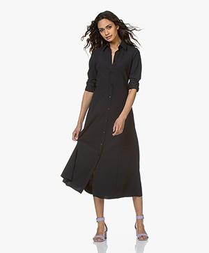 JapanTKY Senya Fit & Flare Travel Jersey Shirt Dress - Black Blue
