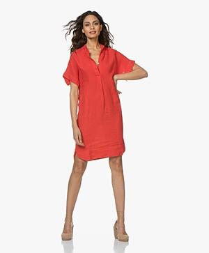 LaSalle Linen Shirt Dress - Red