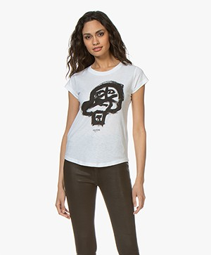 Zadig & Voltaire Skinny Skull Print T-shirt - Wit