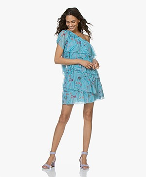 Zadig & Voltaire Risaly One-shoulder Psyche Print Jurk - Turquoise