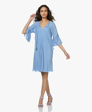 BRAEZ Voile Dress in Cotton and Viscose - Bright Blue
