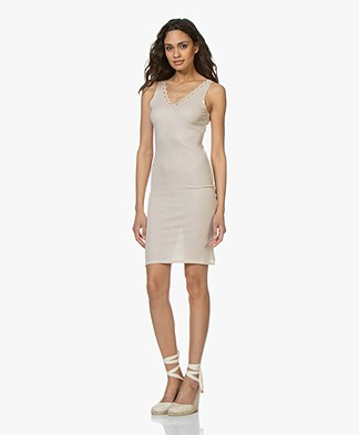 BY-BAR Elise Pointelle Slip Dress - Sand