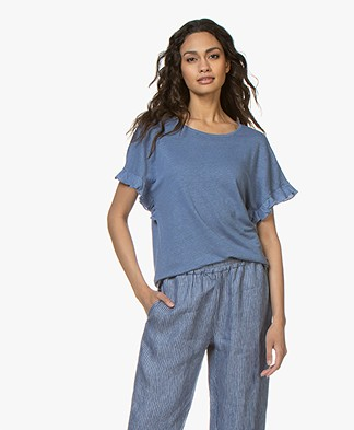 Belluna Bamboo Linnen T-shirt met Ruches - Jeansblauw