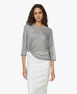 IRO Sober Micro Modal Jersey T-shirt - Grijs Mêlee