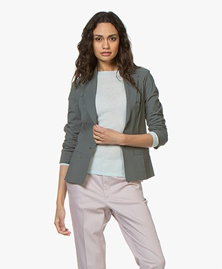 Woman By Earn Juul Bonded Tech Jersey Blazer - Greyish Green
