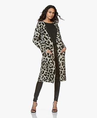 Ragdoll LA Leopard Print Midi-length Cardigan - Beige/Black