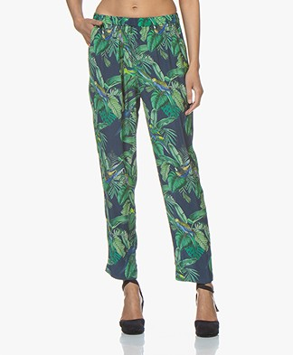 indi & cold Tropical Printed Crepe Pants - Indigo