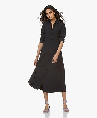 JapanTKY Senya Fit & Flare Travel Jersey Shirt Dress - Black Blue