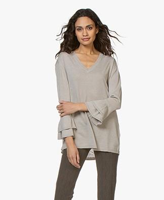 JapanTKY Lyza Silk Blend Flounce Sleeve Pullover - Sand