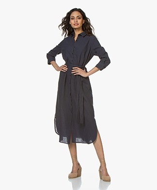 no man's land Midi Shirt Dress in Linen Blend - Dark Sapphire