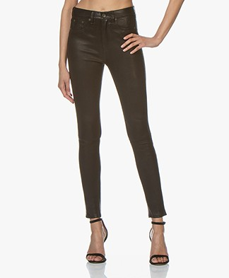 Rag & Bone High Rise Skinny Leather Pants - Black