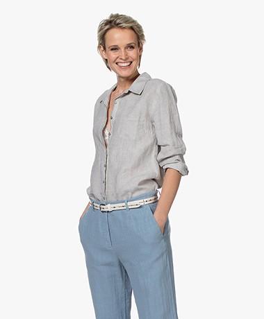 Belluna Biba Garment-dyed Linen Blouse - Beige Melange