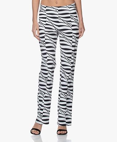 JapanTKY Nayu Travel Jersey Zebraprint Broek - Zwart/Wit