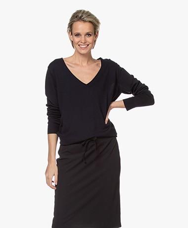 Josephine & Co Brooklyn Tencel Blend V-neck Sweater - Navy